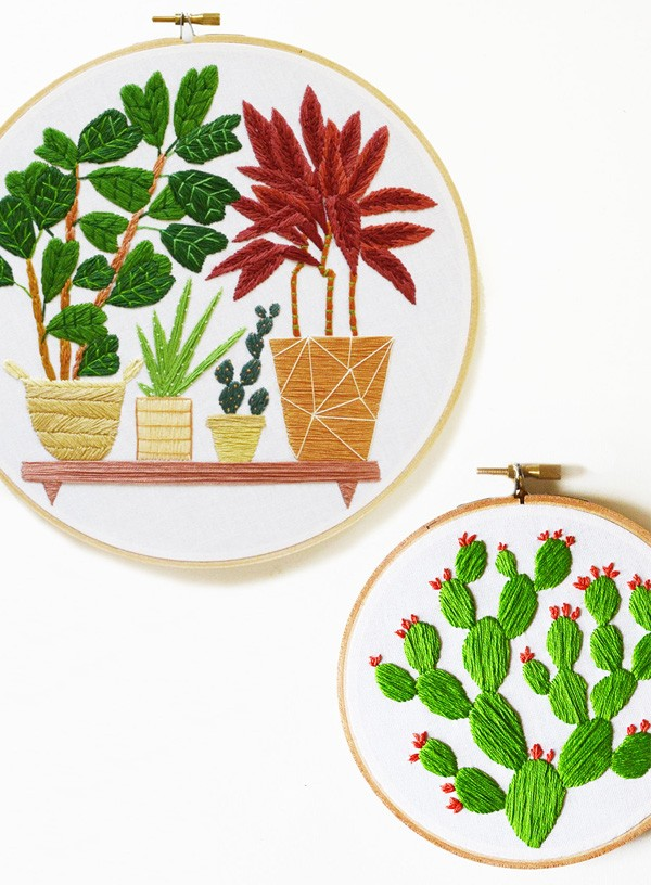 Sarah Benning's 'Prickly Pear' and 'Fig and Palm' embroidered artwork, available to purchase from her Etsy shop.