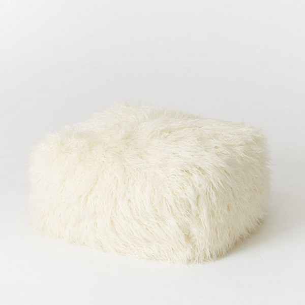 Faux Mongolian Lamb Pouf by West Elm.
