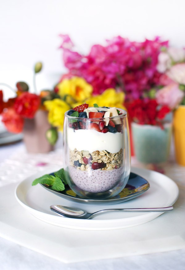 Layered strawberry chia brunch bowls - get the recipe on We Are Scout. Perfect for serving at brunch!