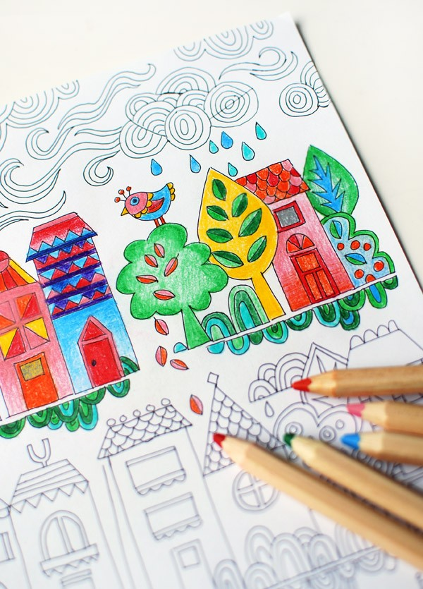 Free adult colouring page. Illustrated by Lisa Tilse for We Are Scout