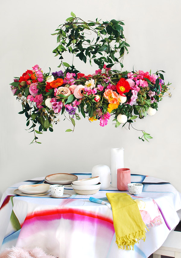 Tutorial Make A Hanging Flower Chandelier For Your Next Party We Are Scout
