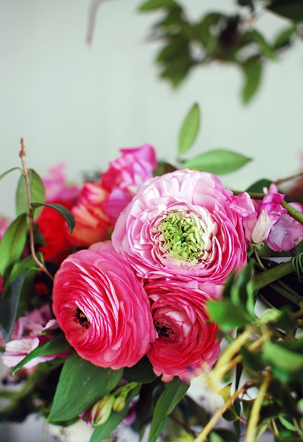 Beautiful ranunculas are the perfect statement flower for a hanging floral chandelier.