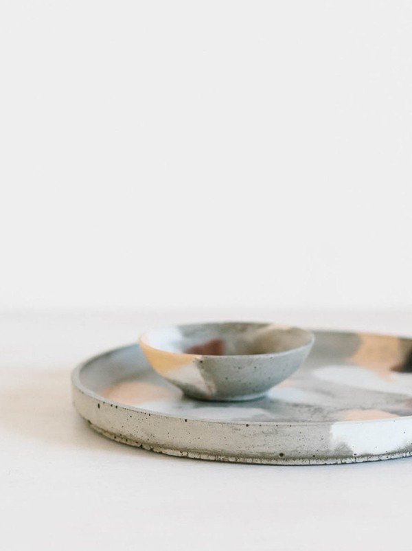 Concrete Jewellery Dish / Salt and Pepper Vessel, $20, on round concrete plate, $65, by Fox & Ramona.