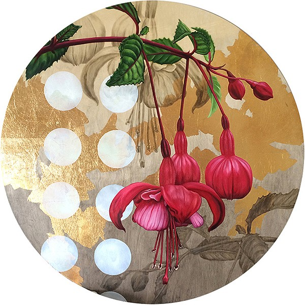 retrospect galleries Alex Louisa. Fuchsia and gold leaf on wood