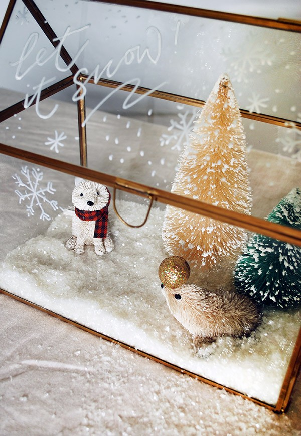 Create a miniature winter wonderland with decorations at West Elm. Photo by Lisa Tilse for We Are Scout.