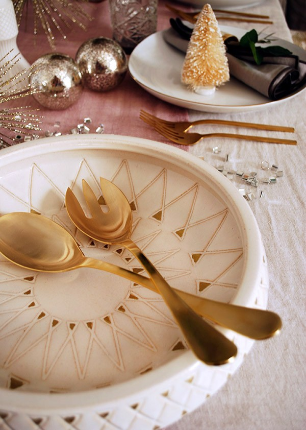 How to set your table for Christmas with a mid-century inspired rosy-gold theme. Photo by Lisa Tilse for We Are Scout.