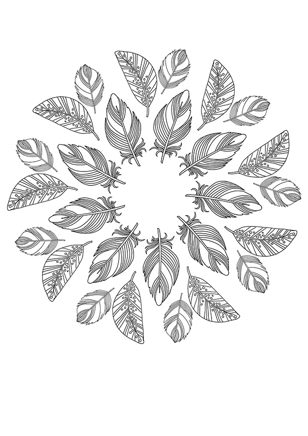 Free Colouring Poster Feather Mandala We Are Scout