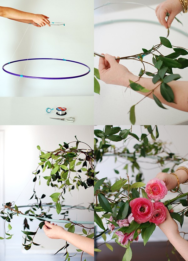 Step-by-step: How to wrap flowers and vines around your wire circle.
