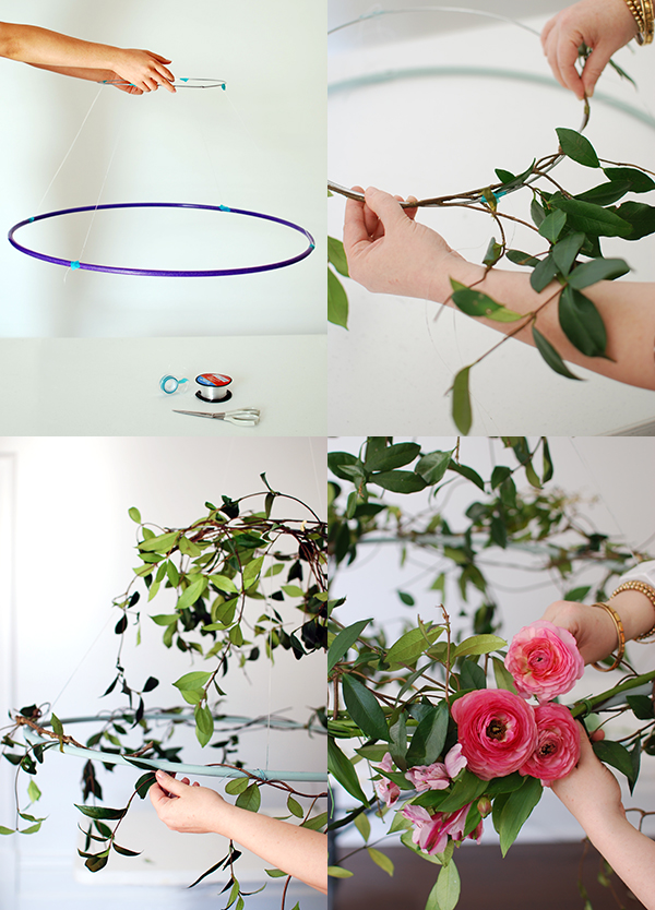 Tutorial make a hanging flower chandelier for your next party we step by step how to wrap flowers and vines around your wire circle aloadofball Image collections