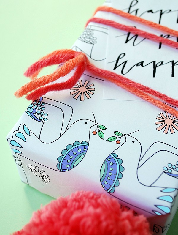 Free printable Christmas wrap and tags - Lisa Tilse for We Are Scout