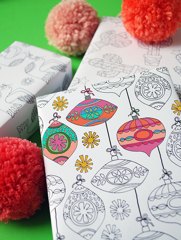 Free Printables To Colour In Christmas Wrapping Paper And Gift Tags