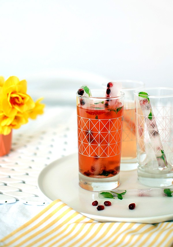 How to make fruity ice cube sticks + 2 delicious drink recipesfor Christmas entertaining.