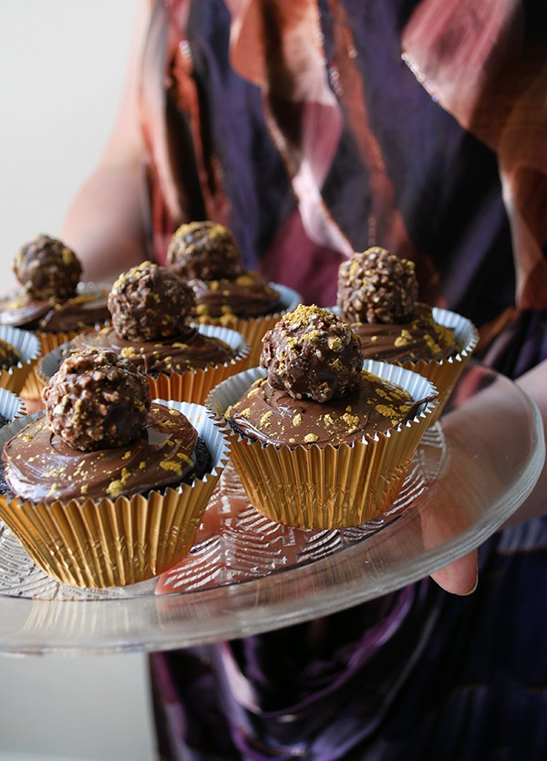 Gold-speckled Ferrero Rocher nutella cupcakes - pefect for Christmas. Photo by Lisa Tilse for We Are Scout.