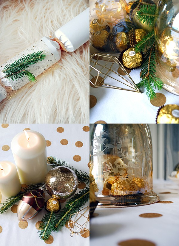 How to set your table with a decadent gold theme - and giant Ferrero Rochers. DIYs and photography by Lisa Tilse for We Are Scout.