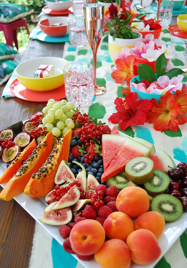 How to create a lush tropical fruit platter for Christmas day. Photo by Lisa Tilse for We Are Scout.