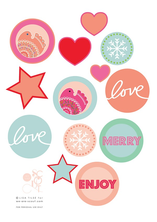 Free multi-purpose Christmas printables: for garlands, gift tags, seals, and more!