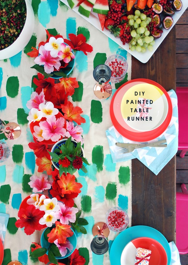 DIY Painted table runner or tablecloth for your next party
