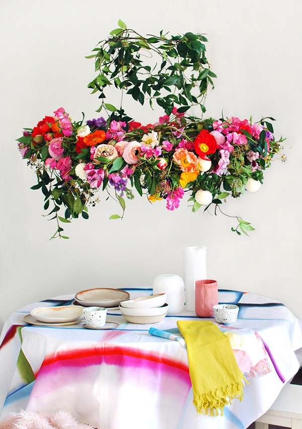 We Are Scout - how to make a stunning flower chandelier