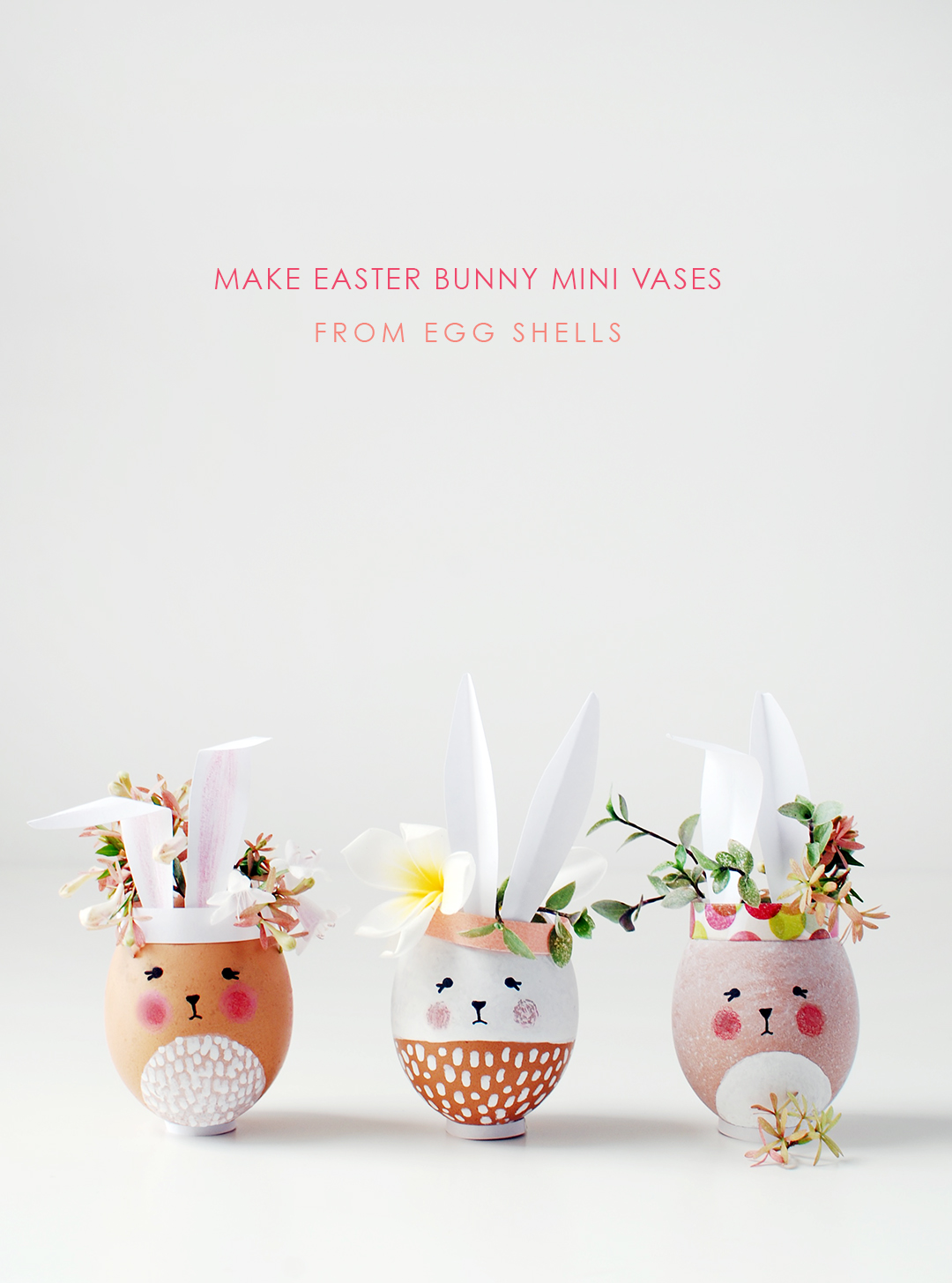 Paint egg shells to make adorable mini Easter Bunny vases for your Easter table. #eastercraft