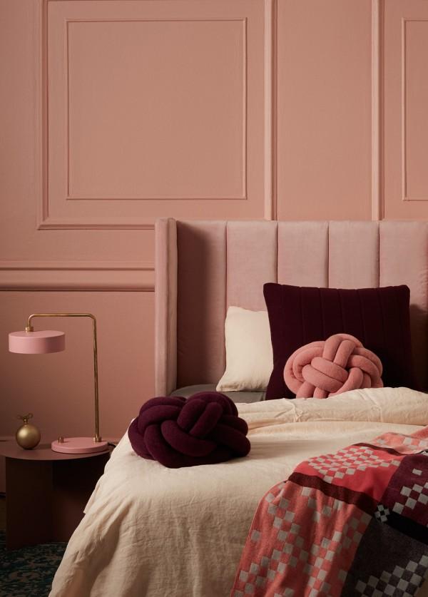 Incy Interiors soft pink velvet Sybilla bedhead