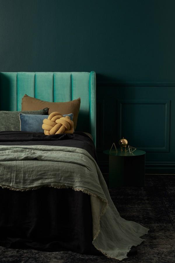 Incy Interiors teal velvet bedhead.