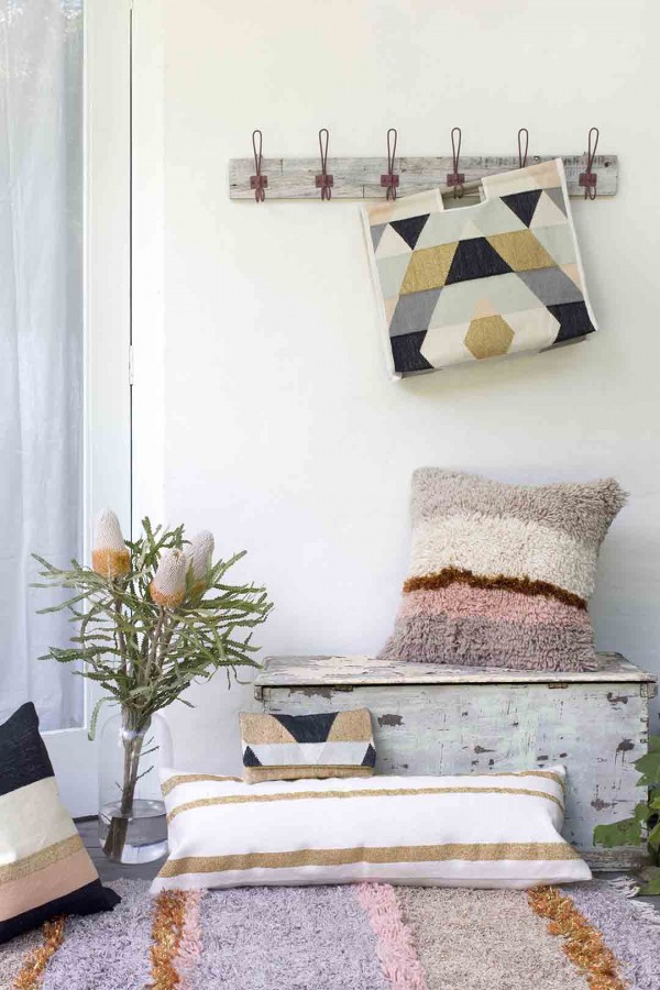Langdon LTD - Australian homewares. Beautiful shag cushions and rug. Woven tote bag.