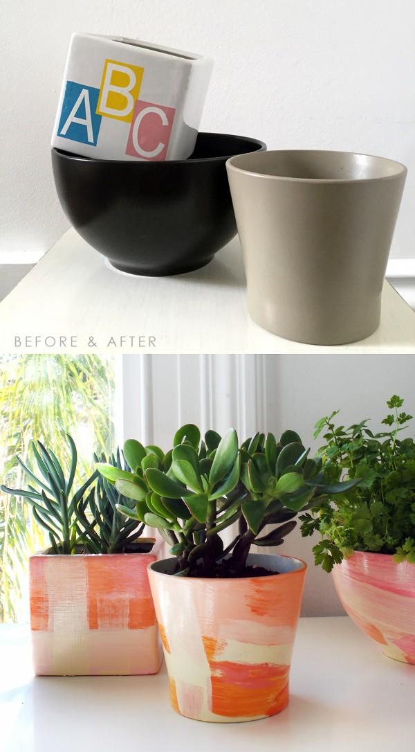 Before and after - give ugly thrifted pots new life with a designer makeover