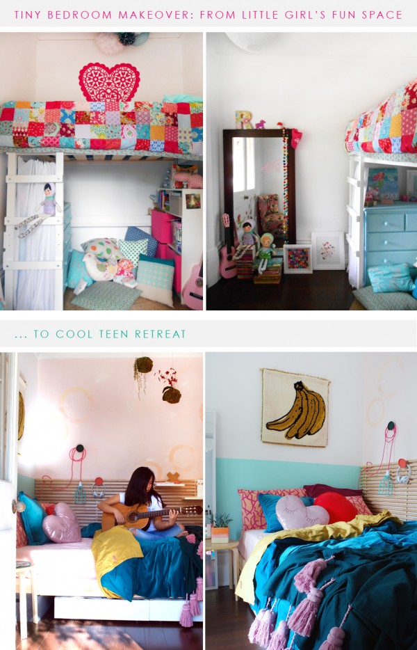 BEFORE AND AFTER tiny bedroom makeover for a teen girl. Tips on how to style a teen retreat, how to maximize space and storage and choose the right furniture.