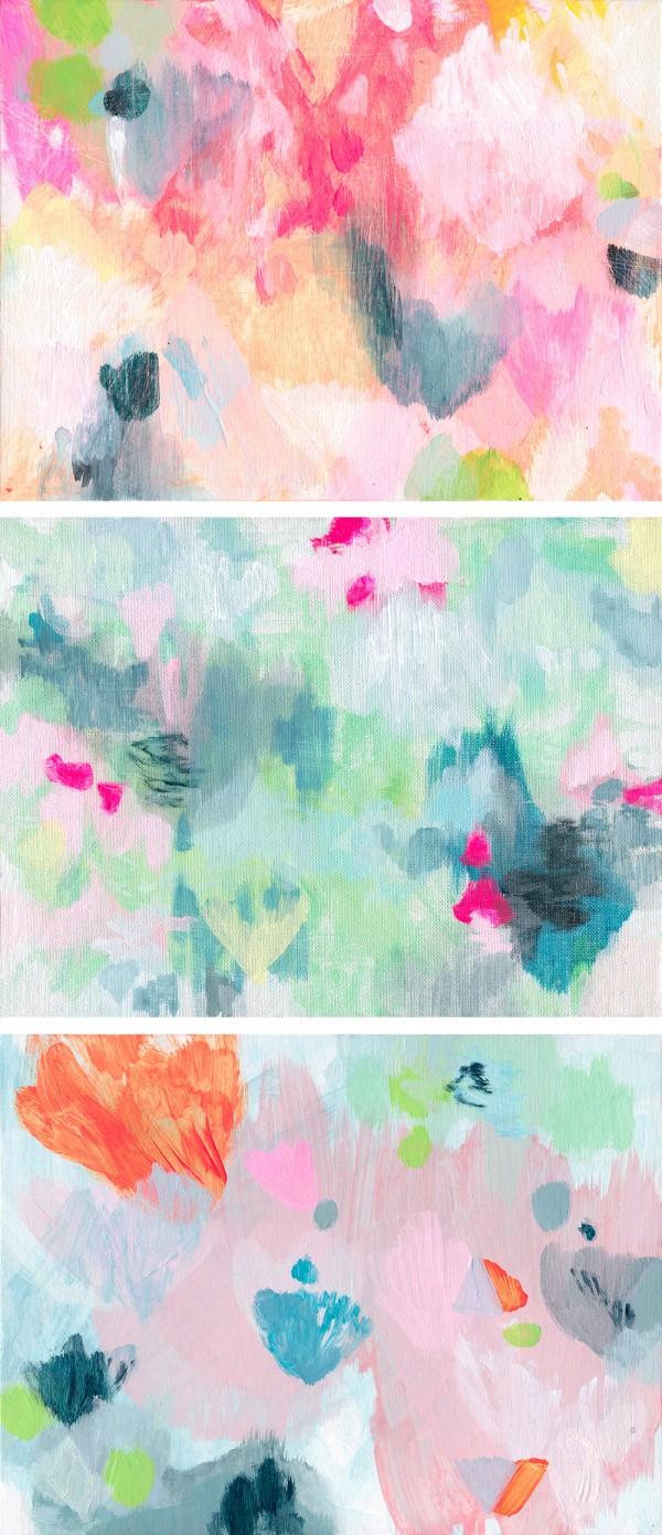 three small paintings by Australian artist Belinda Marshall