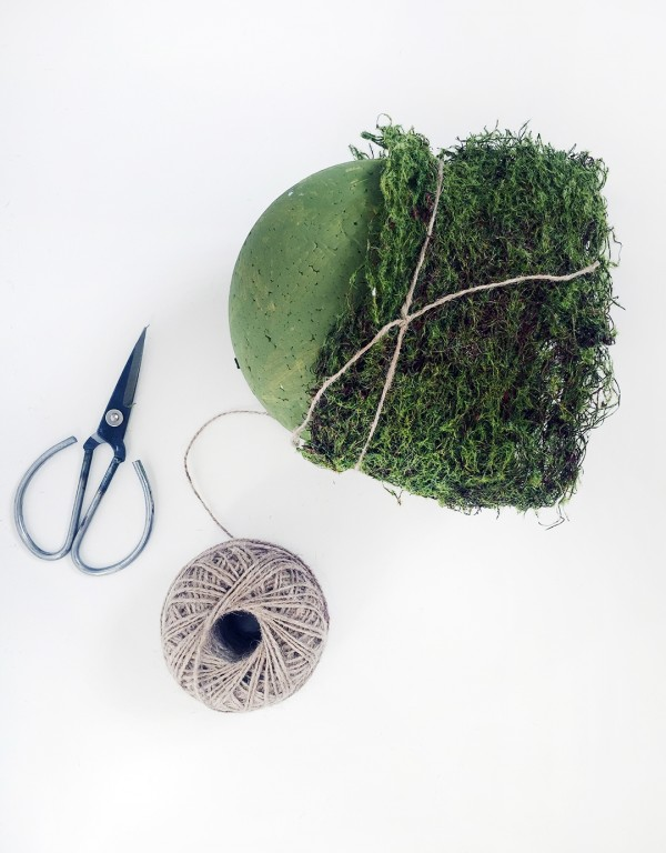 DIY faux foliage hanging string plants step 1