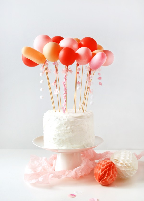 DIY tassel balloon cake topper