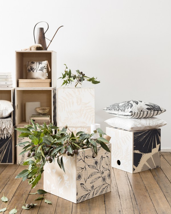 Botanical ply milk crates by Ink & Spindle