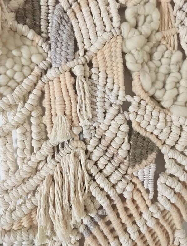 Detail of 'Soft Terrain' - macrame work by fiber artist Sally England