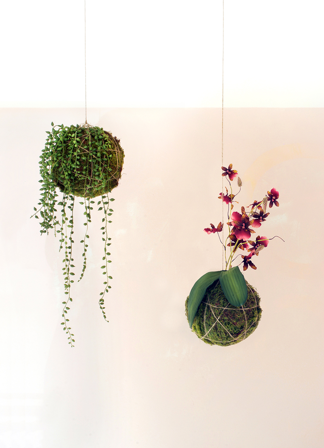 how to make faux hanging string plants
