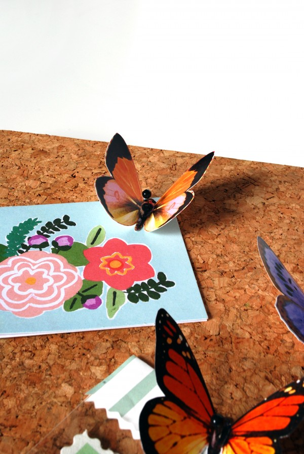 DIY butterfly push pins with free butterfly printables