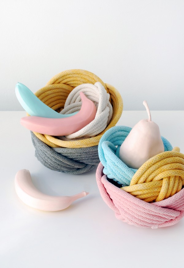 """Weave Bowls"". Woven rope baskets by Crayon Chick. Photo: Lisa Tilse"
