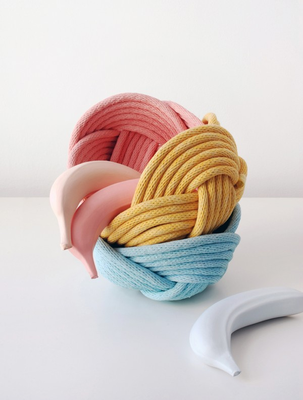 Woven rope baskets by Crayon Chick. Photo: Lisa Tilse