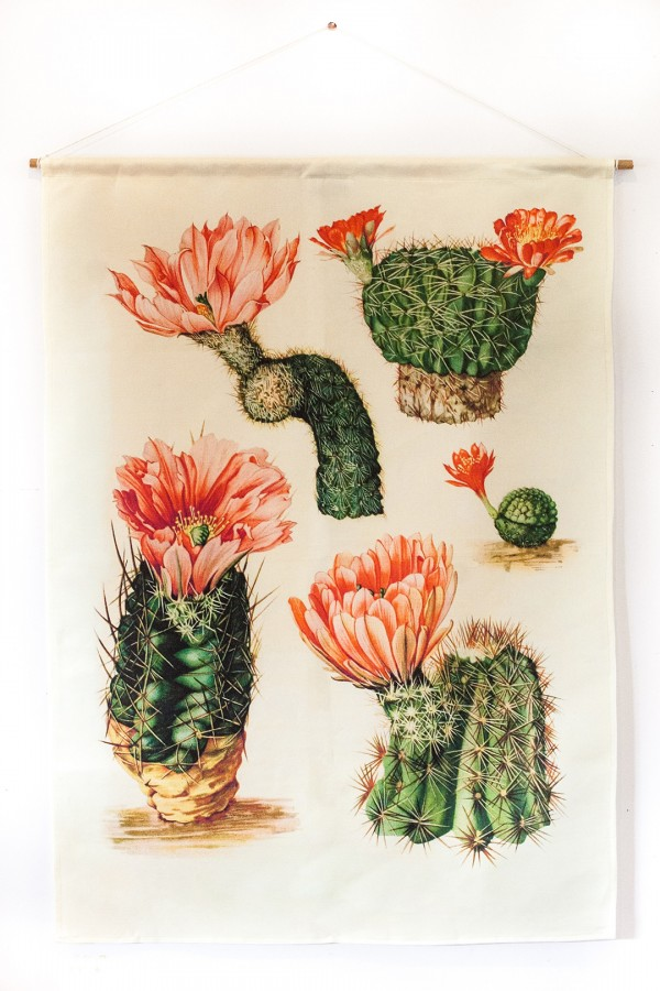 My Bearded Pigeon pink cactus fabric wall hangings