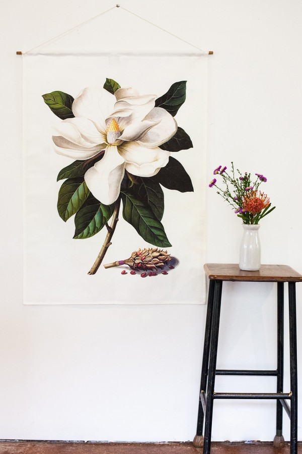 My Bearded Pigeon white magnolia botanical print wall hangings