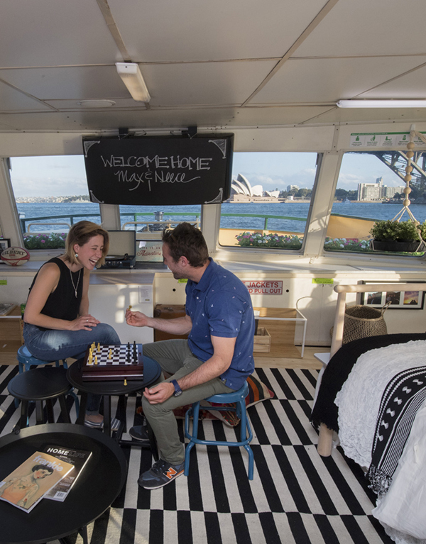 The Ikea Harbour Home on a ferry in Sydney Harbour