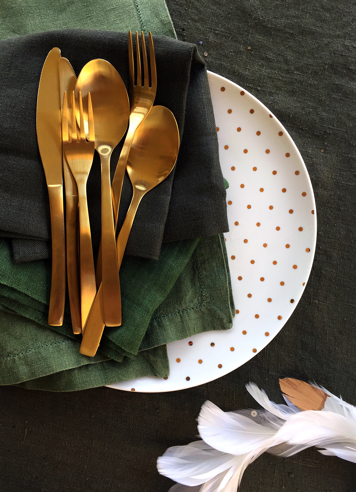 Matte gold cutlery makes a stunning additon to any table setting.