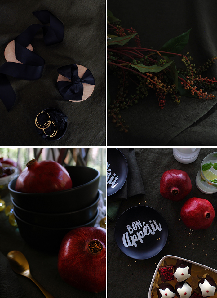 How to style a black Christmas table setting. Add white and gold, rich red and dark olive for a sophisticated palette.