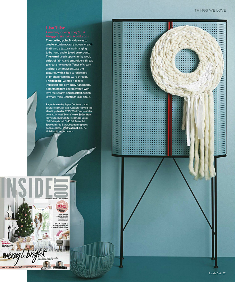 Woven wreath / wall hanging by Lisa Tilse in Inside Out magazine