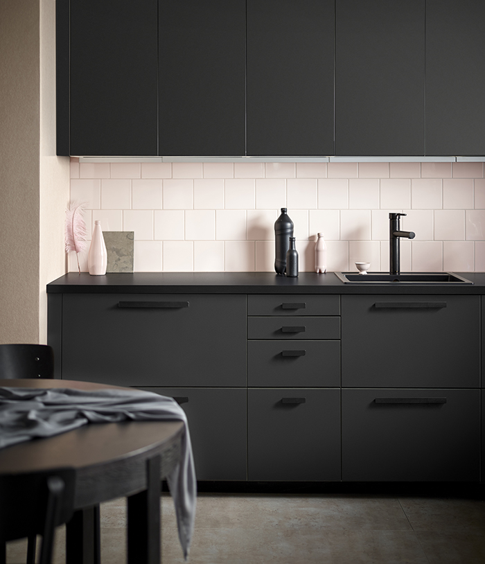 Ikea matte anthracite-coloured kitchen. Gorgeous!
