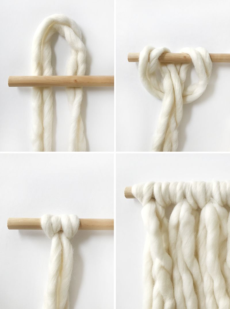 Steps to make a wrapped wool wall hanging