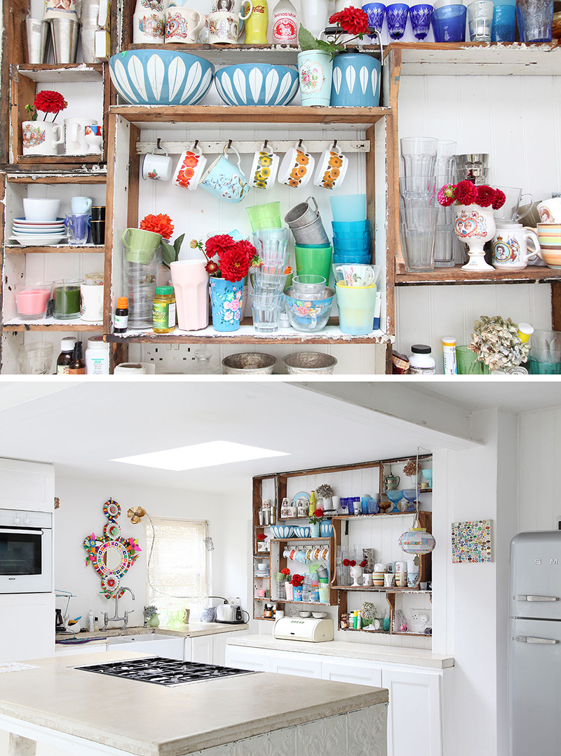 Fabulous collection of things in this modern bohmian kitchen