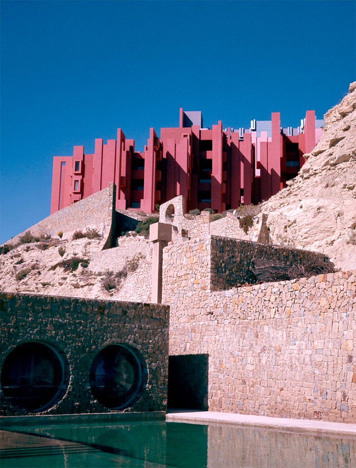 La Muralla Roja in Spain. Architect Ricardo Bofill.