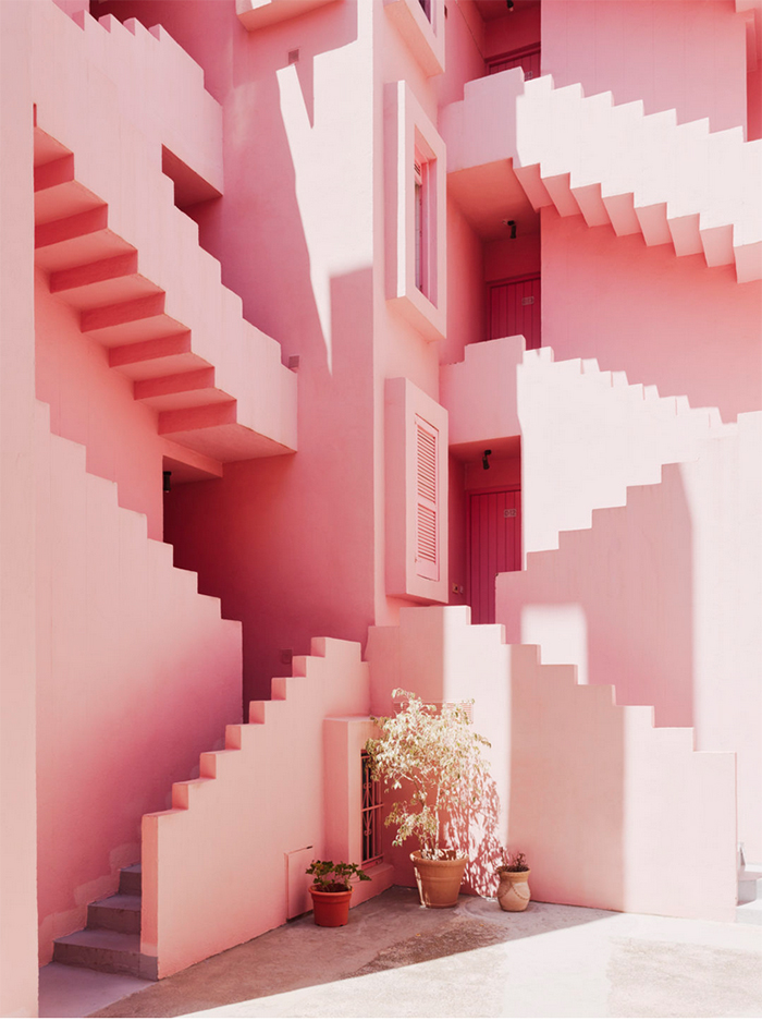 So much pink! La Muralla Roja in Spain. Architect Ricardo Bofill.