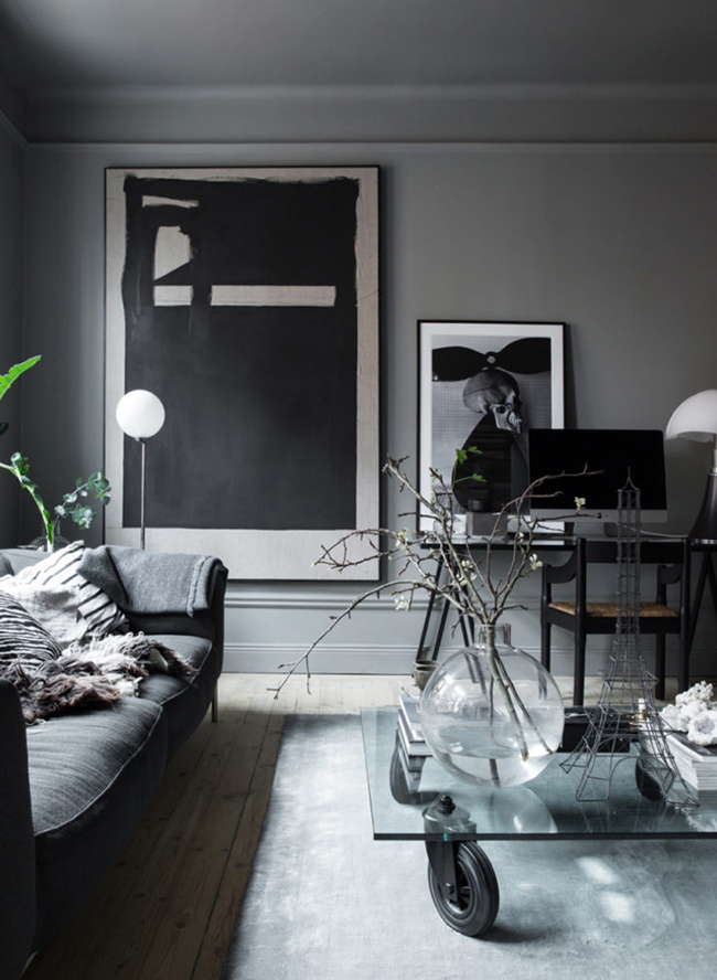 Grey interiors trend. The home of Swedish stylist Lotta Agaton.