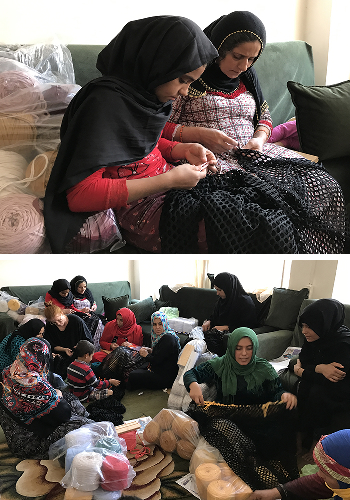 RAGAMUF chair rugs are made from textile industry surplus by Syrian refugee women